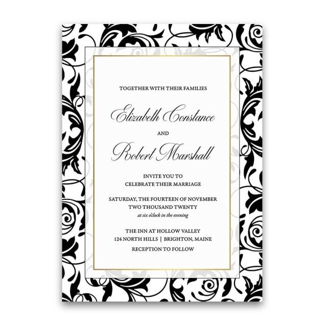 Damask Wedding Invitations Damask Wedding Invitations Elegant Formal Black And White