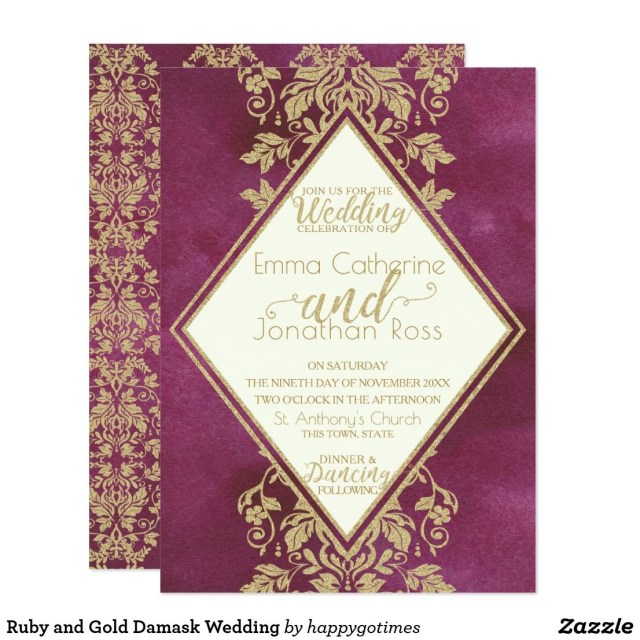 Damask Wedding Invitations Ru And Gold Damask Wedding Invitation Wedding Invitations