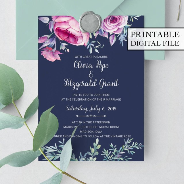 Digital Wedding Invitations Printable Wedding Invitation Boho Wedding Invitation Pink Floral