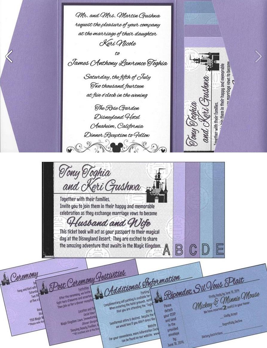 Disney Wedding Invitations Keri Tonys Disneyland Ticket Book Wedding Invitations