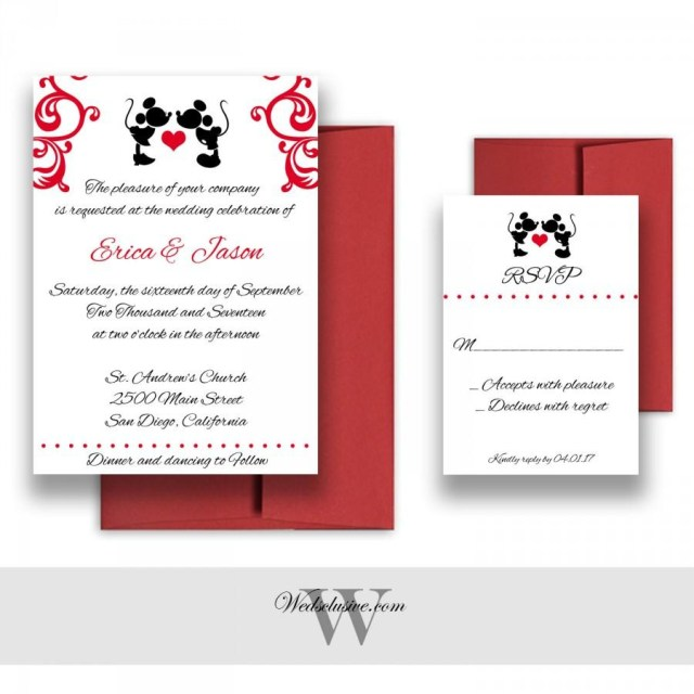 Disney Wedding Invitations Mickey And Minnie Wedding Invitations Disney Weddings Fairytale