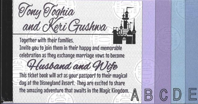 Disneyland Wedding Invitations Keri Tonys Disneyland Ticket Book Wedding Invitations