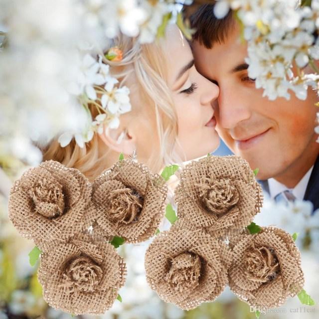 Diy Vintage Wedding 2019 Natural Jute Hessian Flower Handmade Burlap Rose Vintage