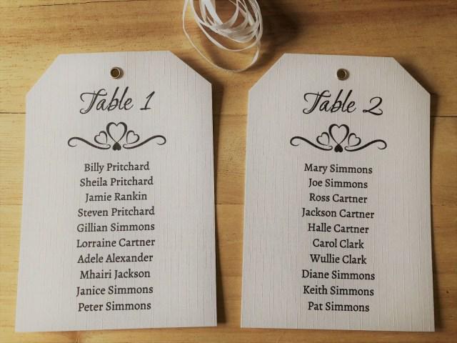 Diy Vintage Wedding Vintage Wedding Table Seating Plan Tags Labels Diy Personalised