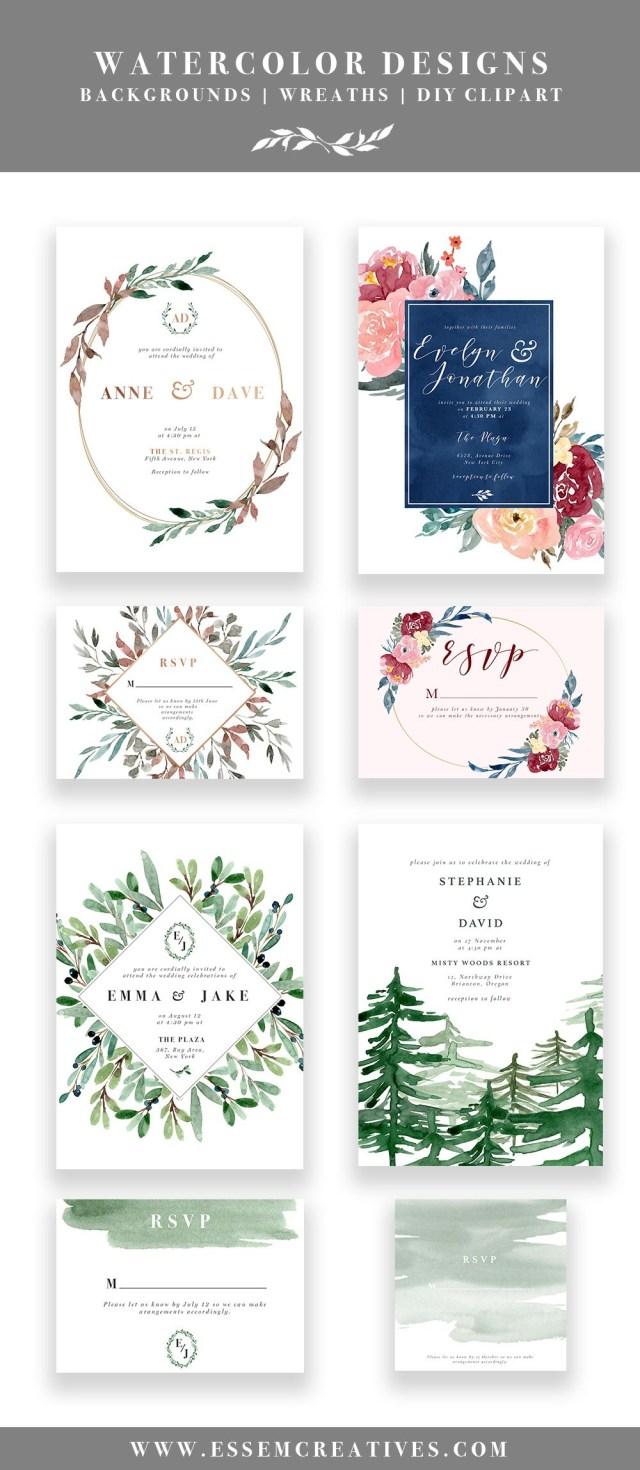 Diy Watercolor Wedding Invitations Diy Printable Watercolor Wedding Invitations Watercolor Designs