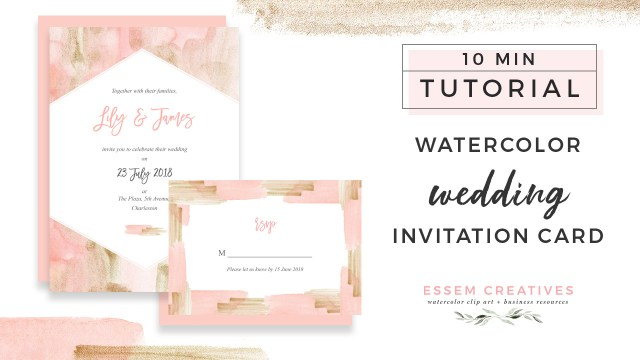 Diy Watercolor Wedding Invitations How To Make A Blush And Gold Watercolor Wedding Invitation On A Mac