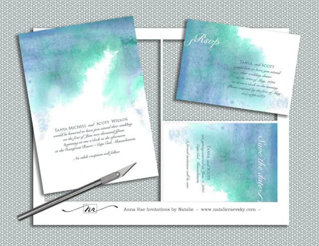 Diy Watercolor Wedding Invitations Printable Watercolor Wedding Invitation Template Diy Painted Blue