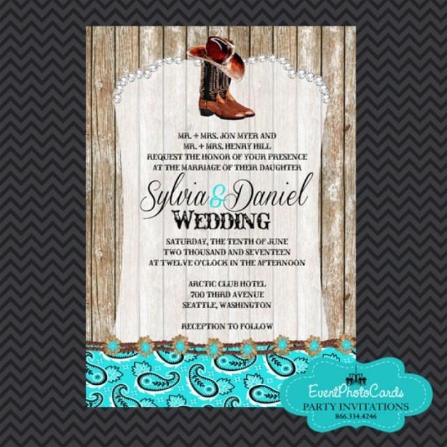 Diy Wedding Announcements Western Boots Aqua Wedding Invitations Wedding Announcements