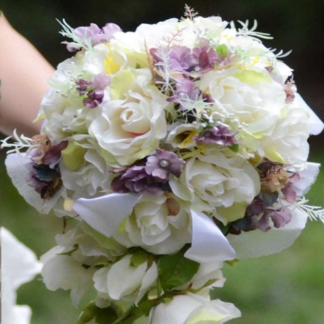 Diy Wedding Bouquet 32x24x45cm New Whitepurple Waterfall Wedding Bouquet Romantic Bride Diy Wedding Bouquet Flower Bride Wedding Accessories