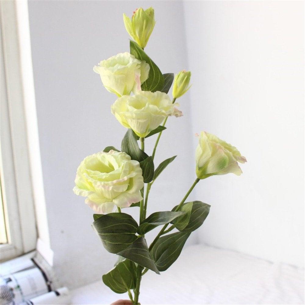 Diy Wedding Bouquet 6 Heads Vivid Eustoma Artificial Flowers Diy Bridal Bouquet Home Wedding Decor
