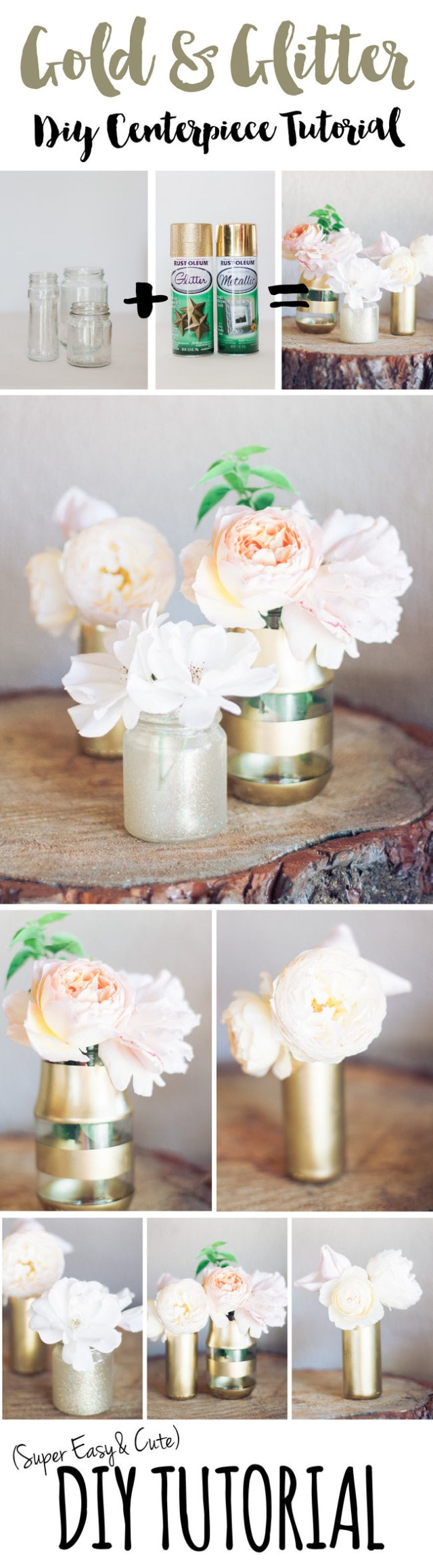 Diy Wedding Vases Diy Gold And Glitter Vases Tutorial