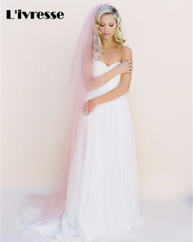 Diy Wedding Veil Simple Pink Champagne Tulle Diy Wedding Veils Without Comb Cut Edge