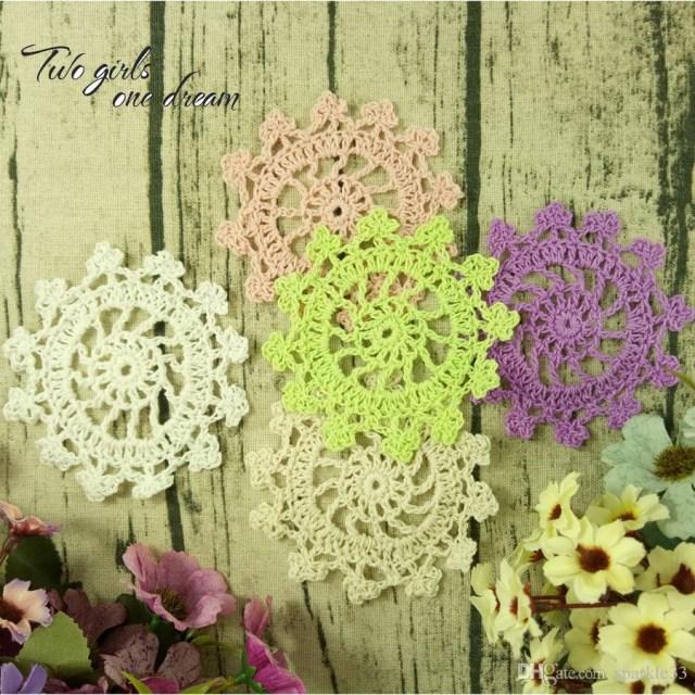 Doilie Wedding Decor 2019 Vintage Diy Multicolor 10cm Flowers Coaster Handmade Crochet