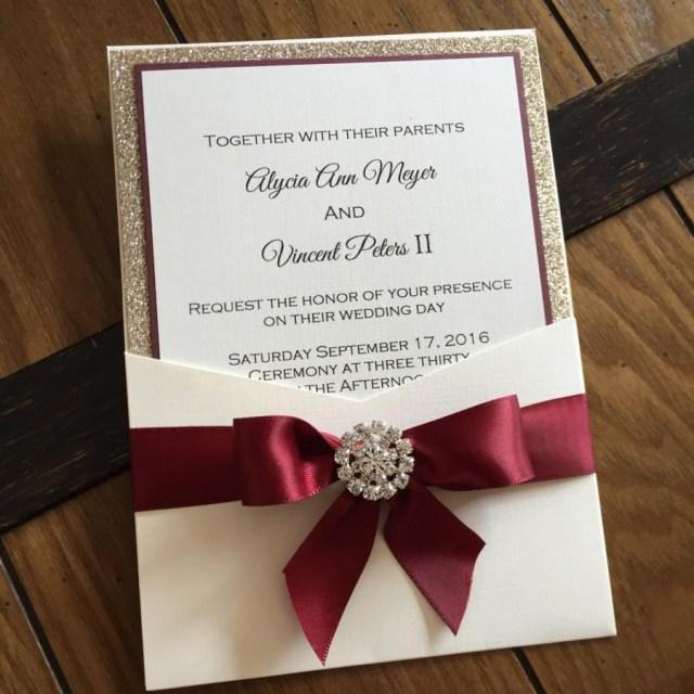 Elegant Wedding Invitation Burgundy And Gold Leaf Glitter Pocket Wedding Invitation Elegant
