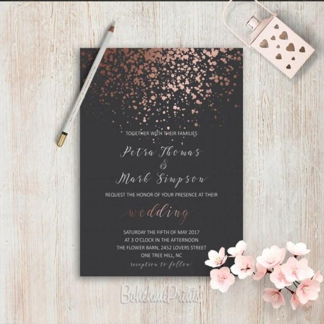 Elegant Wedding Invitation Elegant Wedding Invitations Simple Wedding Invitation Rose Gold Grey