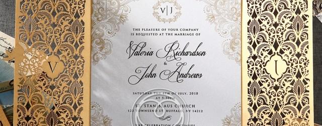 Elegant Wedding Invitation Gold Foil And Ivory Gatefold Wedding Invitation Laser Cut De