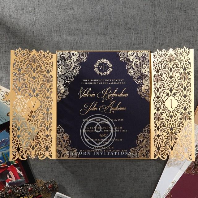 Elegant Wedding Invitation Gold Foil Wnavy Elegant Glamorous Wedding Invitation