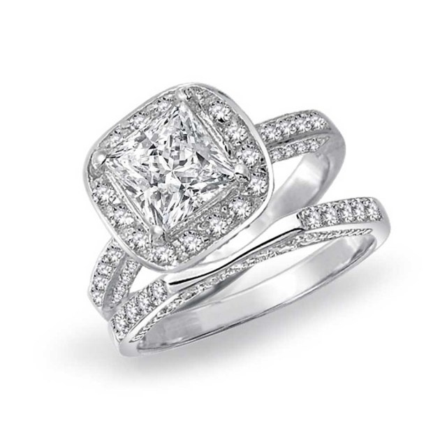 Engagement And Wedding Princess Cut Square Cubic Zirconia Engagement Wedding Ring Promise