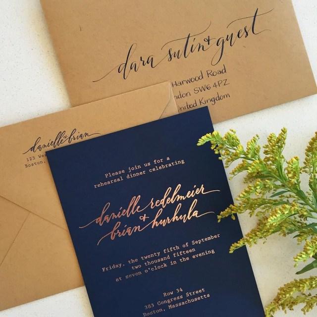 Envelopes For Wedding Invitations Rose Gold Foil With Navy Paper And Kraft Envelopes Invitations