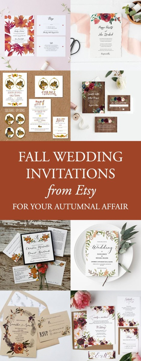 Fall Wedding Invitation 40 Fall Wedding Invitations From Etsy For Your Autumnal Affair