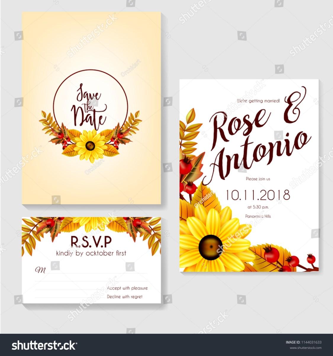 Fall Wedding Invitation Autumn Fall Wedding Invitation Made Flowers Stock Vector Royalty