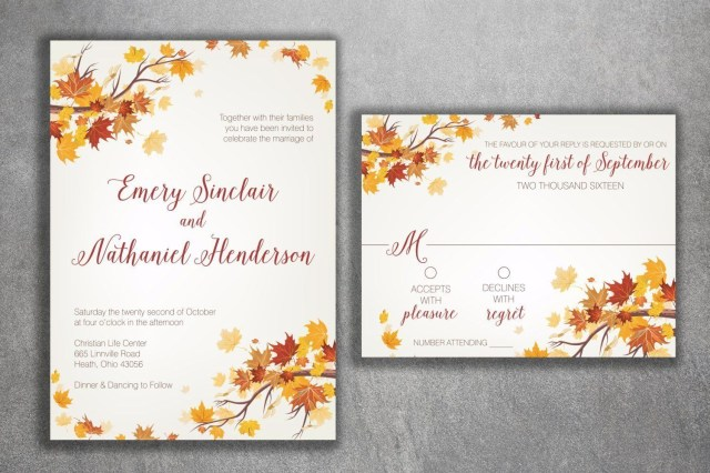 Fall Wedding Invitation Autumn Wedding Invitation Set Fall Wedding Invitation September