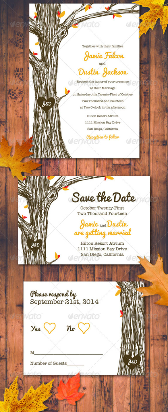 Fall Wedding Invitation Fall Wedding Invitation Template 15 Psd Formats Download Free