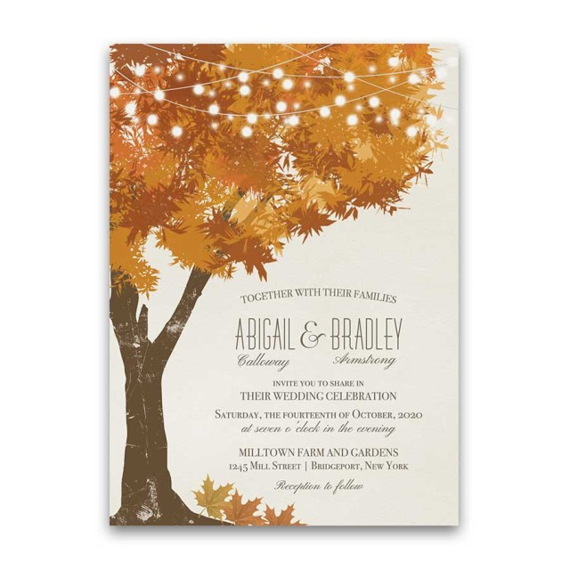 Fall Wedding Invitation Fall Wedding Invitations Rustic Tree Autumn Leaves In Gold