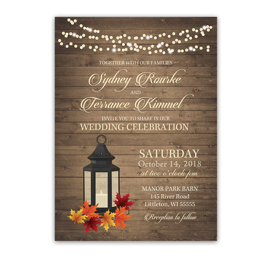 Fall Wedding Invitation Rustic Fall Wedding Invitations Metal Lantern Autumn Leaves