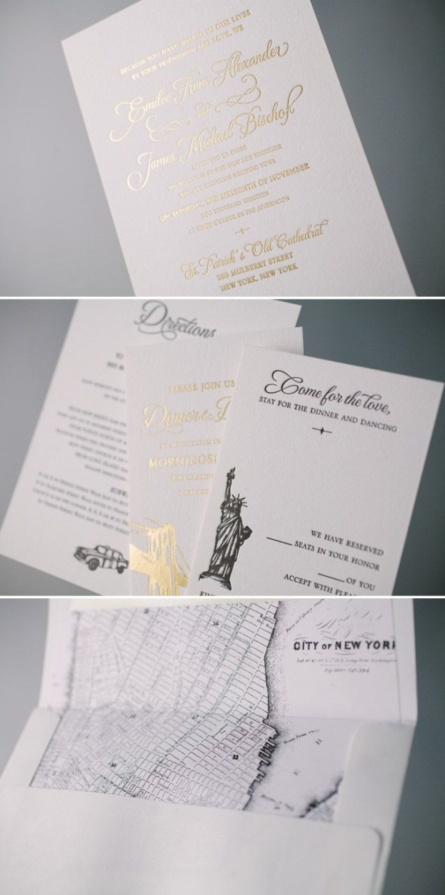 Foil Stamped Wedding Invitations Classic Manhattan Gold Foil Stamped Wedding Invitations With Nyc