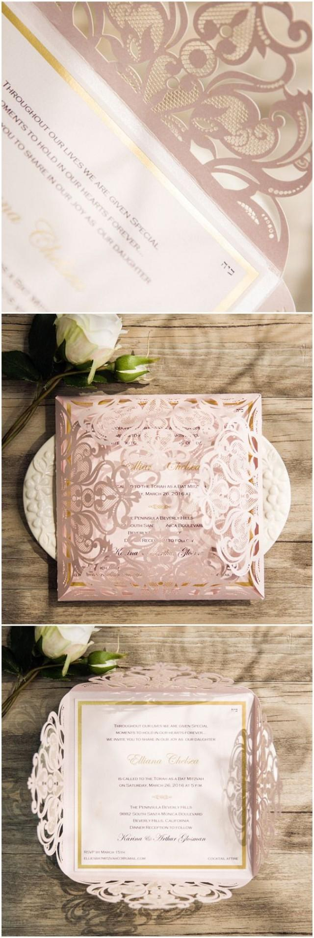 Foil Stamped Wedding Invitations Romantic Blush Pink Laser Cut Gold Foil Stamped Wedding Invitations
