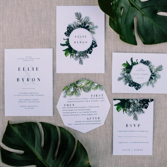 Forest Wedding Invitations Modern Jungle Inspired Wedding Stationery Greenery