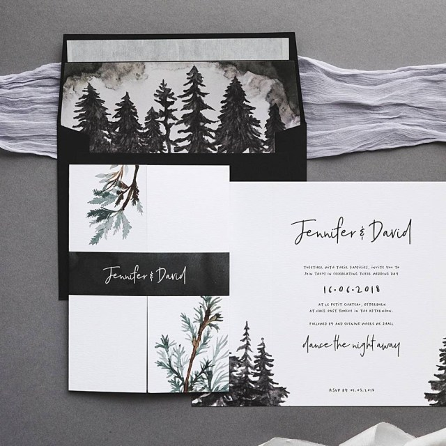 Forest Wedding Invitations Winter Forest Wedding Invitation Set I Am Nat