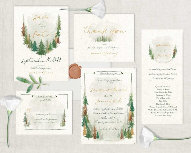 Forest Wedding Invitations Woodland Forest Wedding Invitations Watercolor Trees Handwriting