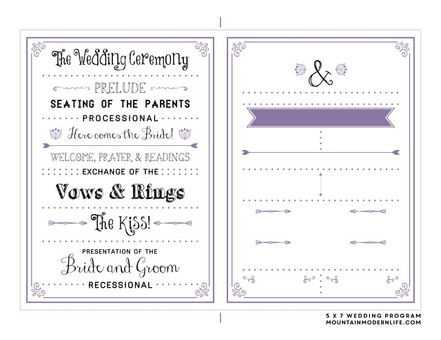 Free Printable Wedding Invitations Free Printable Wedding Program Mountainmodernlife