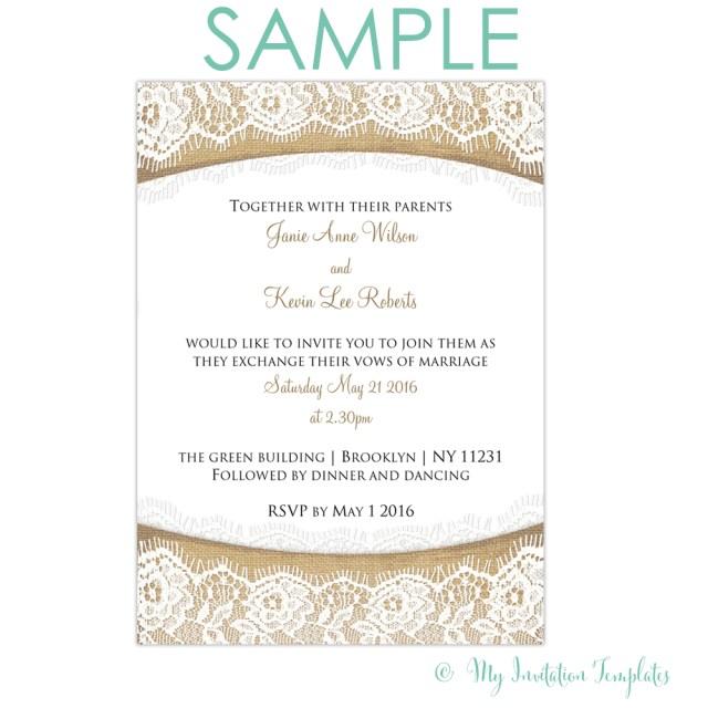 Free Wedding Invitations Rustic Burlap And Lace Wedding Invitation Free Sample Rs