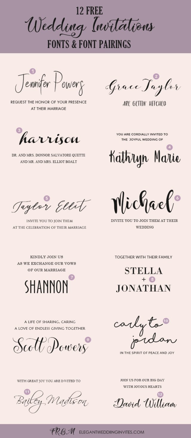 Free Wedding Invitations Wedding Invitation Font Pairing Guide With Free Killer Fonts To