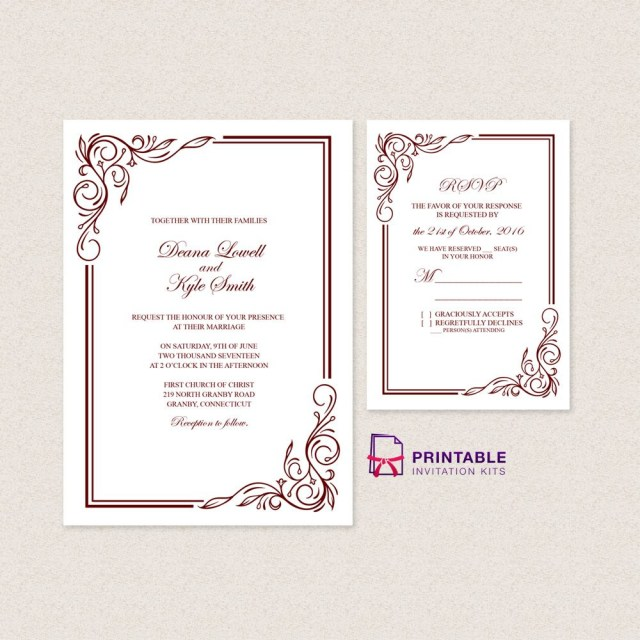 Free Wedding Invitations Wedding Invitation Templates Free Pdfs With Easy To Edit Text