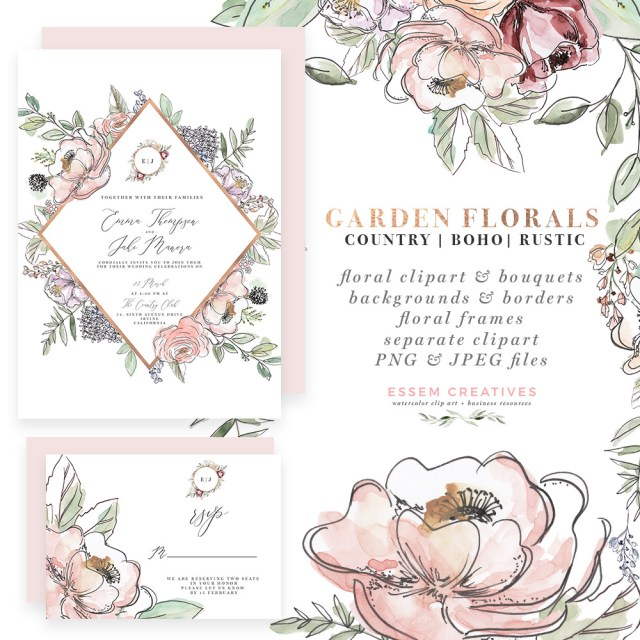 Garden Wedding Invitations Garden Floral Watercolor Invitation Borders Papers Clipart Essem