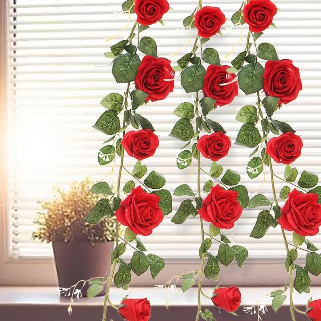Garland Wedding Decor 18m Artificial Rose Garland Silk Flower Ivy Vine Hanging Garland