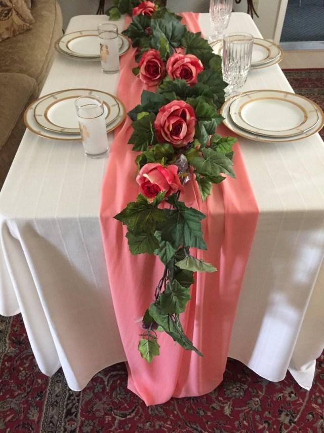 Garland Wedding Decor Ivy Wedding Garland Wedding Decor Centerpiece Coral Pink Etsy