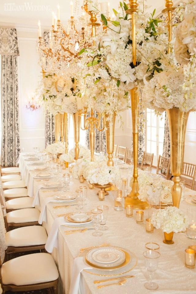 Glamourous Wedding Decor Glamorous Gold And Ivory Wedding Theme Elegantweddingca