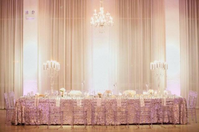 Glamourous Wedding Decor Weddding Head Table Decor Glamorous Sequin Chez Wedding Venue
