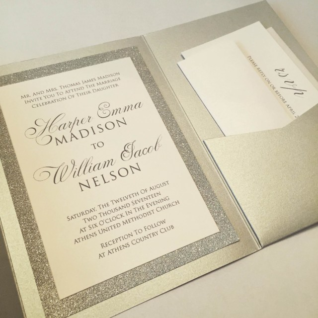 Glitter Wedding Invitations 50 Off Silver Or Gold Metallic Glitter Wedding Invitation Suites