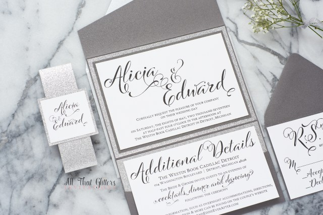Glitter Wedding Invitations Alicia Glitter Wedding Invitation Suite All That Glitters