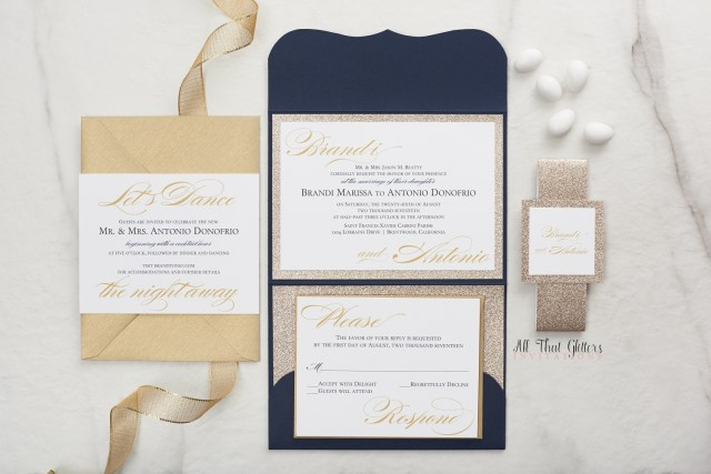 Glitter Wedding Invitations Brandi Suite Glitter Wedding Invitation All That Glitters