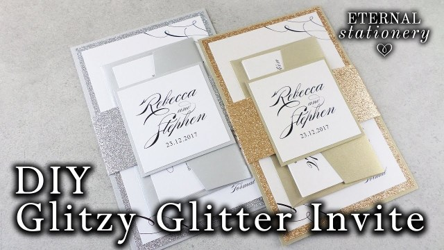 Glitter Wedding Invitations How To Make Elegant Glitter Wedding Invitations With Belly Band
