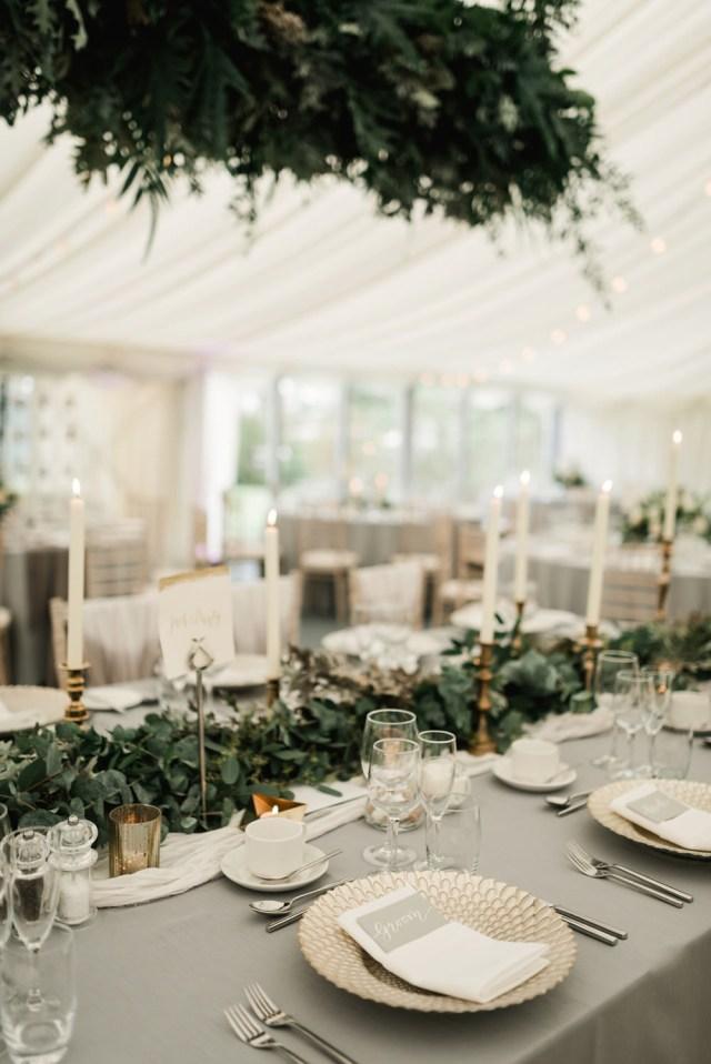 Gold Wedding Decor Elegant Grey Green White Gold Black Tie Marquee Wedding At