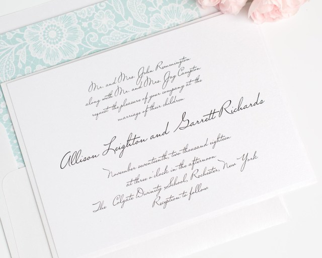 Handwritten Wedding Invitations Handwritten Inspired Wedding Invitations In Mint Wedding Invitations