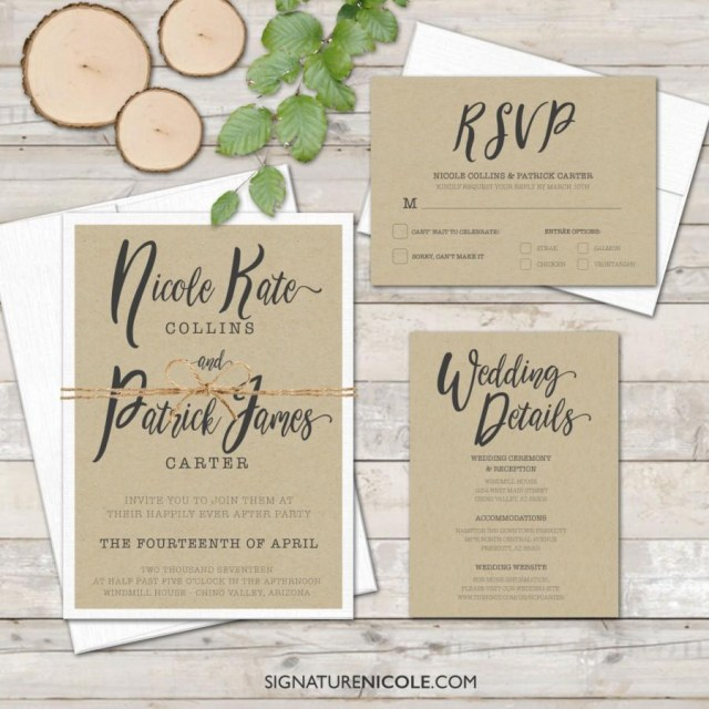 Handwritten Wedding Invitations Rustic Wedding Invitation With Rsvp And Detail Cards Quick
